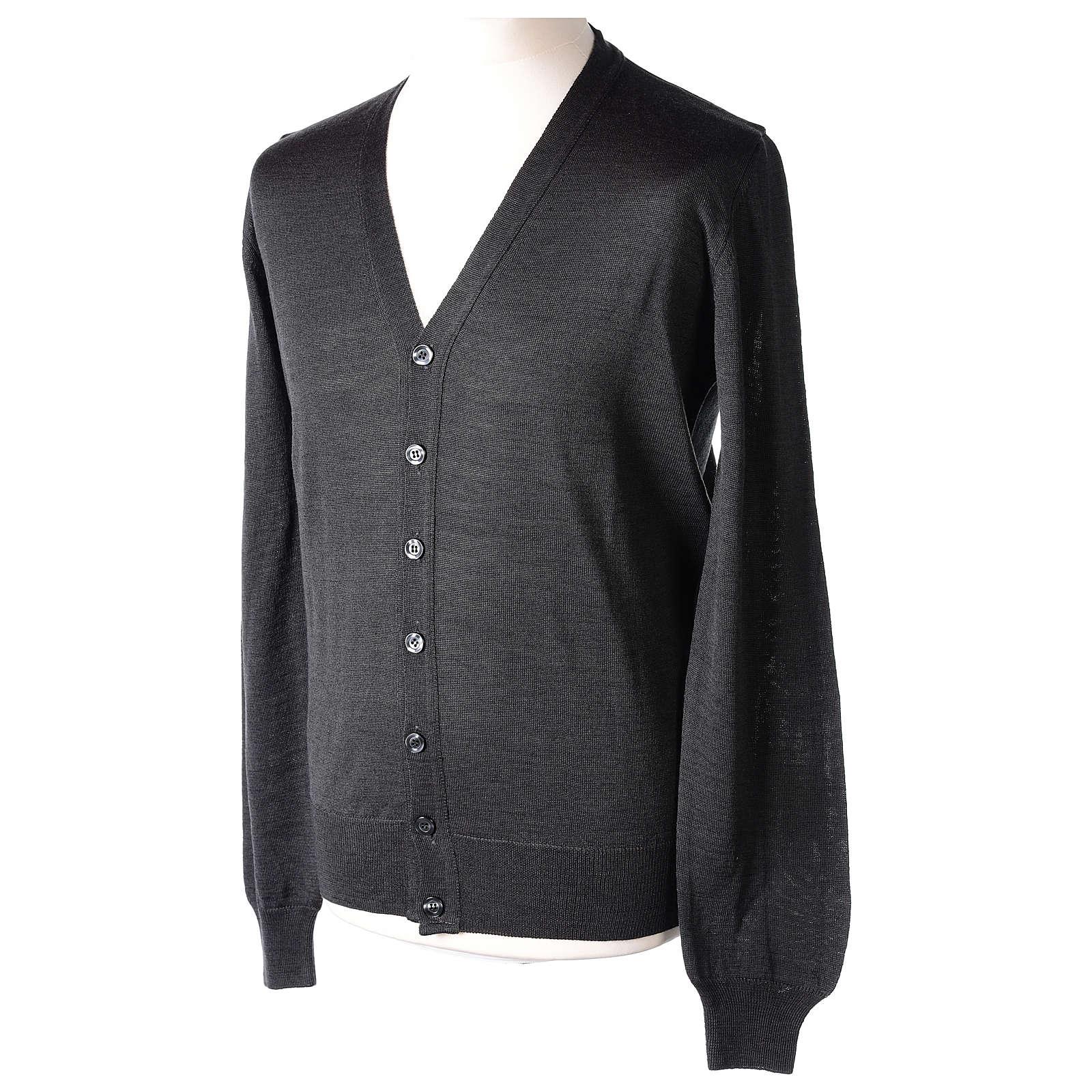 Giacca sacerdote grigio antracite bottoni maglia rasata 50% acrilico 50% lana merino In Primis 4