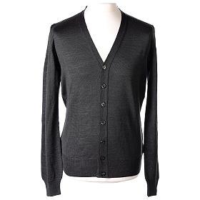 Giacca sacerdote grigio antracite bottoni maglia rasata 50% acrilico 50% lana merino In Primis s1