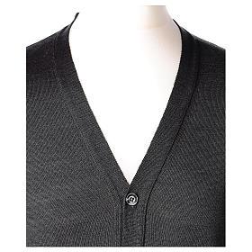 Giacca sacerdote grigio antracite bottoni maglia rasata 50% acrilico 50% lana merino In Primis s2