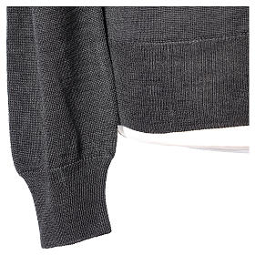 Giacca sacerdote grigio antracite bottoni maglia rasata 50% acrilico 50% lana merino In Primis s5