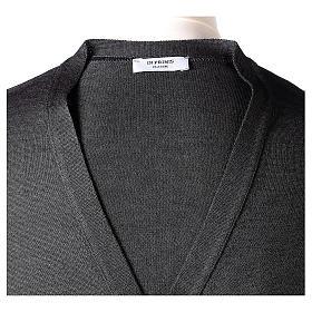 Giacca sacerdote grigio antracite bottoni maglia rasata 50% acrilico 50% lana merino In Primis s7