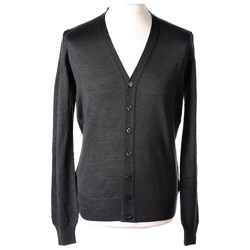 Giacca sacerdote grigio antracite bottoni maglia rasata 50% acrilico 50% lana merino In Primis 1