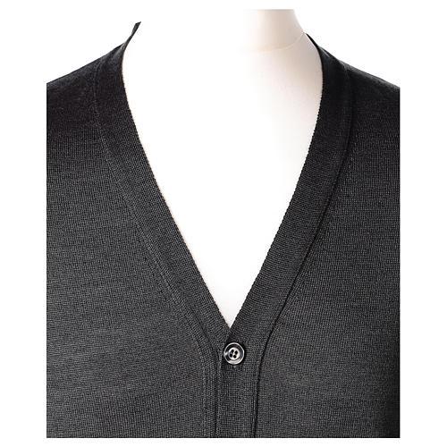 Giacca sacerdote grigio antracite bottoni maglia rasata 50% acrilico 50% lana merino In Primis 2