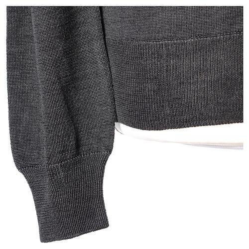 Giacca sacerdote grigio antracite bottoni maglia rasata 50% acrilico 50% lana merino In Primis 5