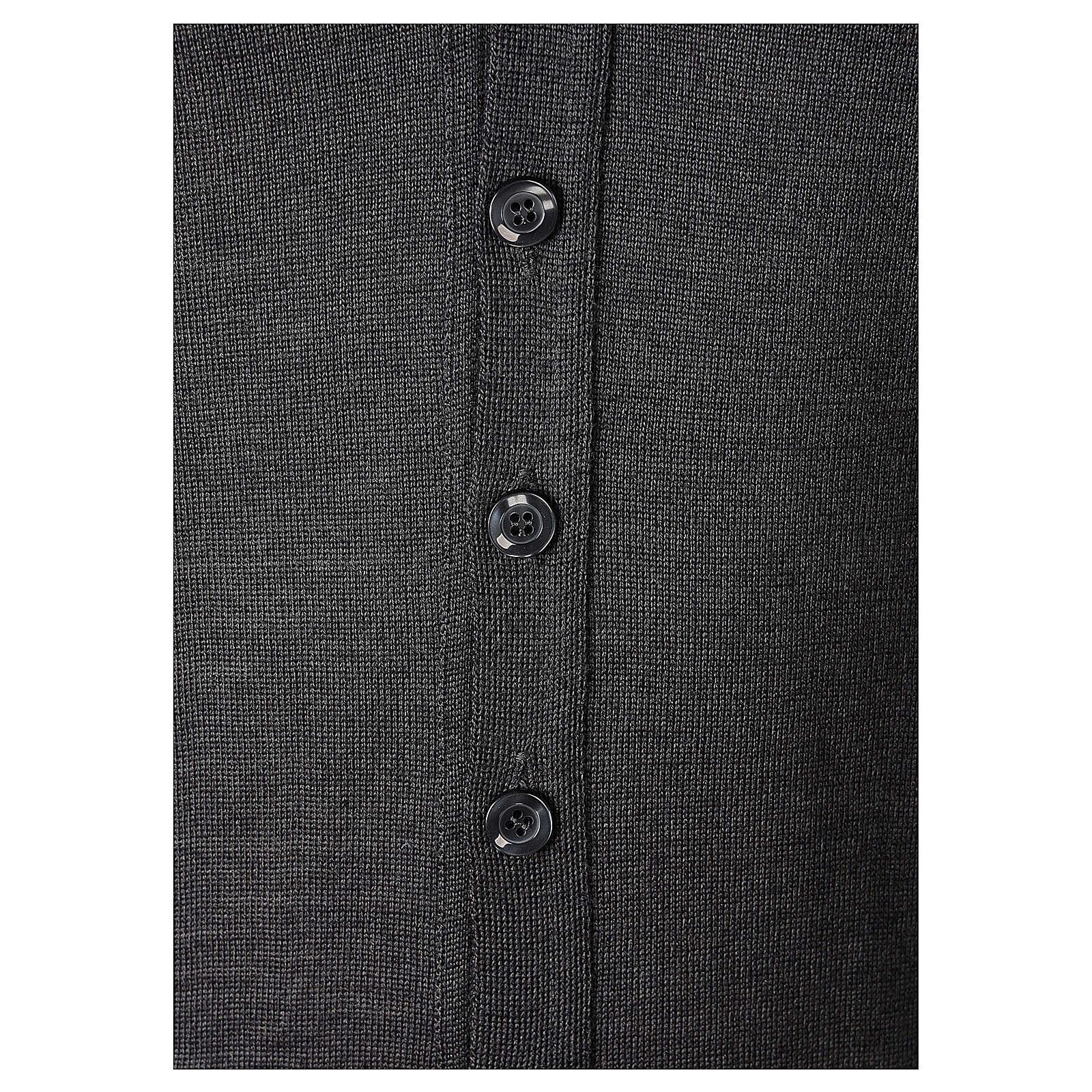 Casaco de malha sacerdote antracite tricô plano 50% lã de merino 50% acrílico In Primis 4