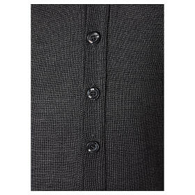 Casaco de malha sacerdote antracite tricô plano 50% lã de merino 50% acrílico In Primis s4