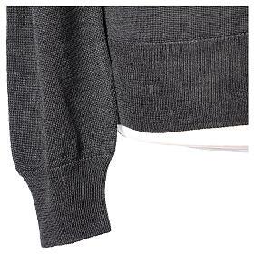 Casaco de malha sacerdote antracite tricô plano 50% lã de merino 50% acrílico In Primis s5