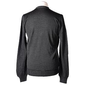 Casaco de malha sacerdote antracite tricô plano 50% lã de merino 50% acrílico In Primis s6