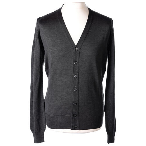 Casaco de malha sacerdote antracite tricô plano 50% lã de merino 50% acrílico In Primis 1