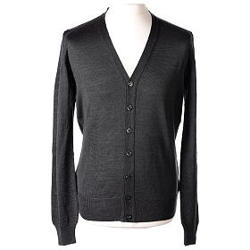 Clergy button-front cardigan grey plain knit 50% acrylic 50% merino wool In Primis s1