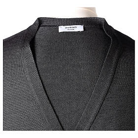 Clergy button-front cardigan grey plain knit 50% acrylic 50% merino wool In Primis s7