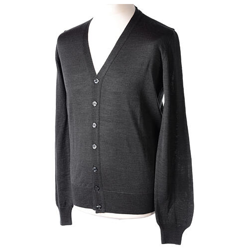 Clergy button-front cardigan grey plain knit 50% acrylic 50% merino wool In Primis 3