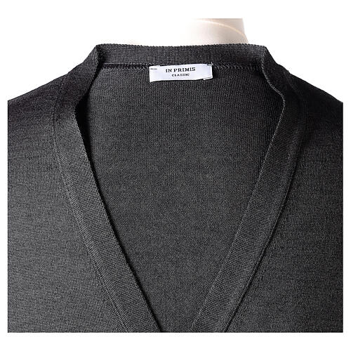 Clergy button-front cardigan grey plain knit 50% acrylic 50% merino wool In Primis 7