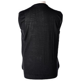 Chaleco sacerdote negro cerrado punto al derecho 50% lana merina 50% acrílico In Primis s4
