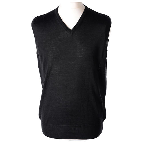 Gilet sacerdote nero chiuso maglia rasata 50% lana merino 50% acrilico In Primis 1