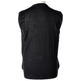 Colete sacerdote preto sem botões tricô plano 50% lã de merino 50% acrílico In Primis s4