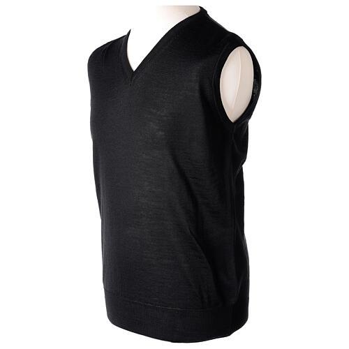 Colete sacerdote preto sem botões tricô plano 50% lã de merino 50% acrílico In Primis 3