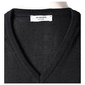 V-neck sleeveless clergy jumper black plain knit 50% merino wool 50% acrylic In Primis s5