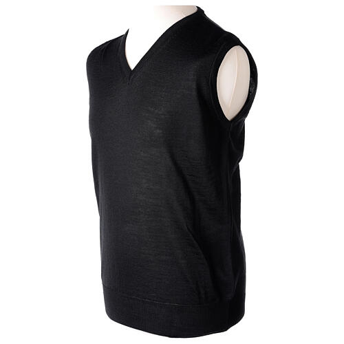 V-neck sleeveless clergy jumper black plain knit 50% merino wool 50% acrylic In Primis 3