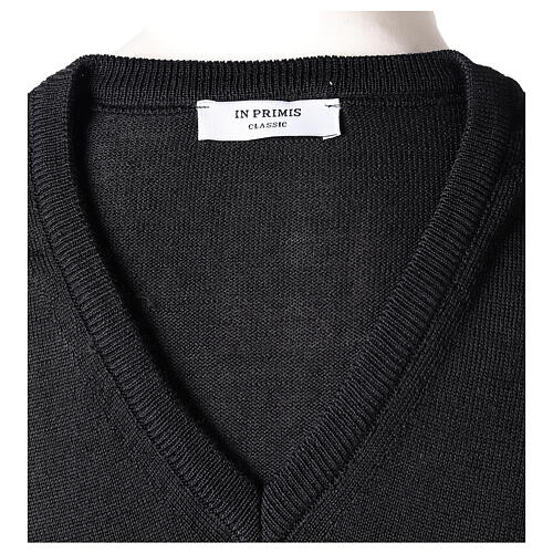V-neck sleeveless clergy jumper black plain knit 50% merino wool 50% acrylic In Primis 5