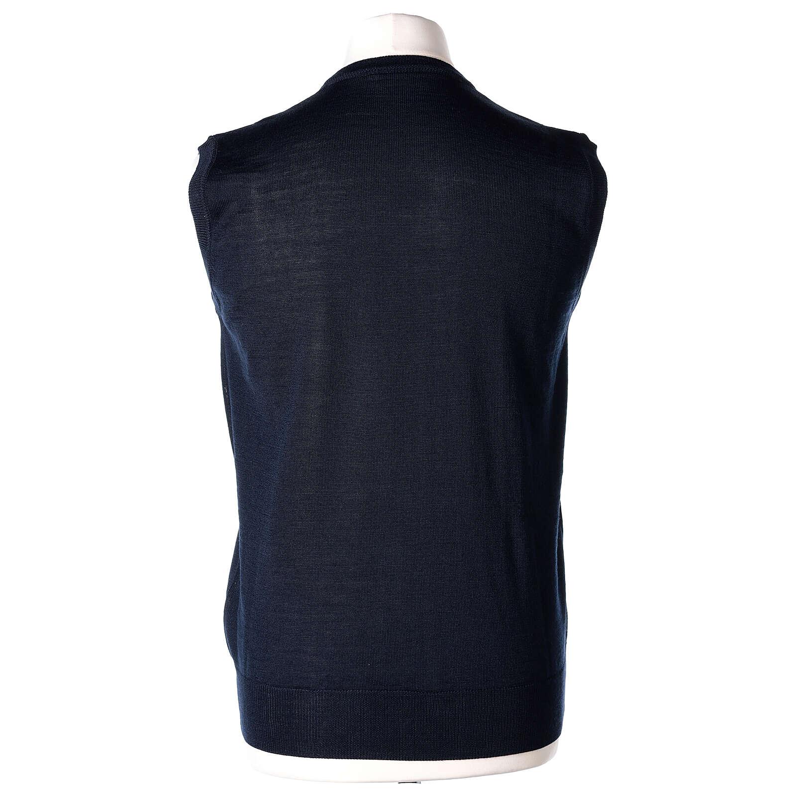 Chaleco sacerdote azul cerrado punto al derecho 50% lana merina 50% acrílico In Primis 4