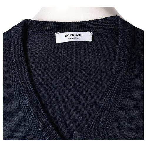 Chaleco sacerdote azul cerrado punto al derecho 50% lana merina 50% acrílico In Primis 5
