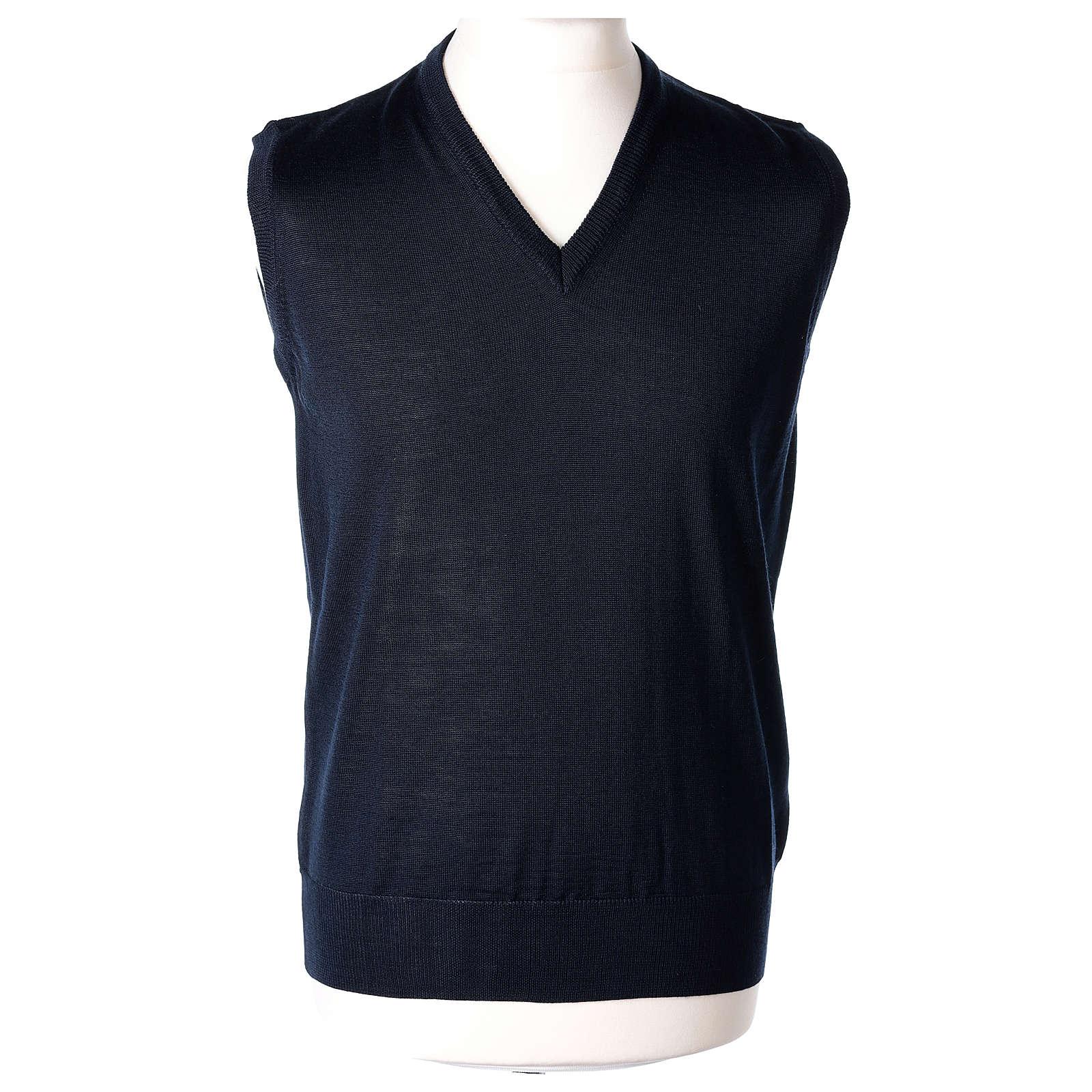Pull sans manches prêtre bleu jersey simple 50% acrylique 50% laine mérinos In Primis 4