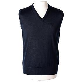 Pull sans manches prêtre bleu jersey simple 50% acrylique 50% laine mérinos In Primis s1