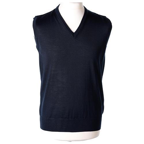 Pull sans manches prêtre bleu jersey simple 50% acrylique 50% laine mérinos In Primis 1