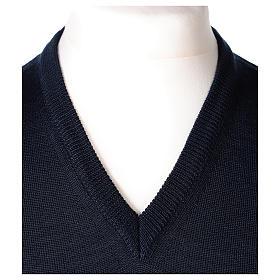 Gilet sacerdote blu chiuso maglia rasata 50% lana merino 50% acrilico In Primis s2