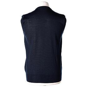 Gilet sacerdote blu chiuso maglia rasata 50% lana merino 50% acrilico In Primis s4