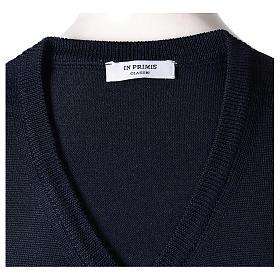 Gilet sacerdote blu chiuso maglia rasata 50% lana merino 50% acrilico In Primis s5