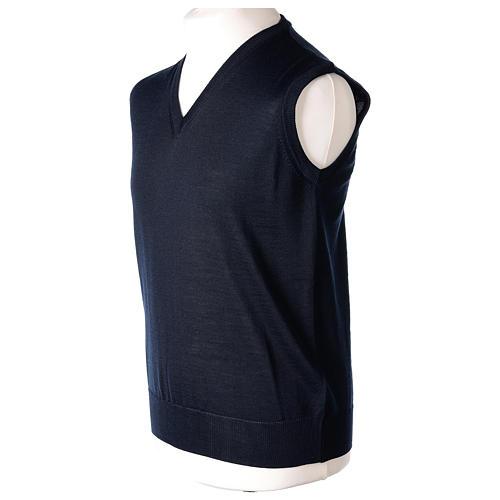 Gilet sacerdote blu chiuso maglia rasata 50% lana merino 50% acrilico In Primis 3