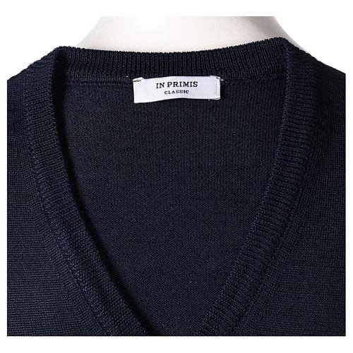 Gilet sacerdote blu chiuso maglia rasata 50% lana merino 50% acrilico In Primis 5