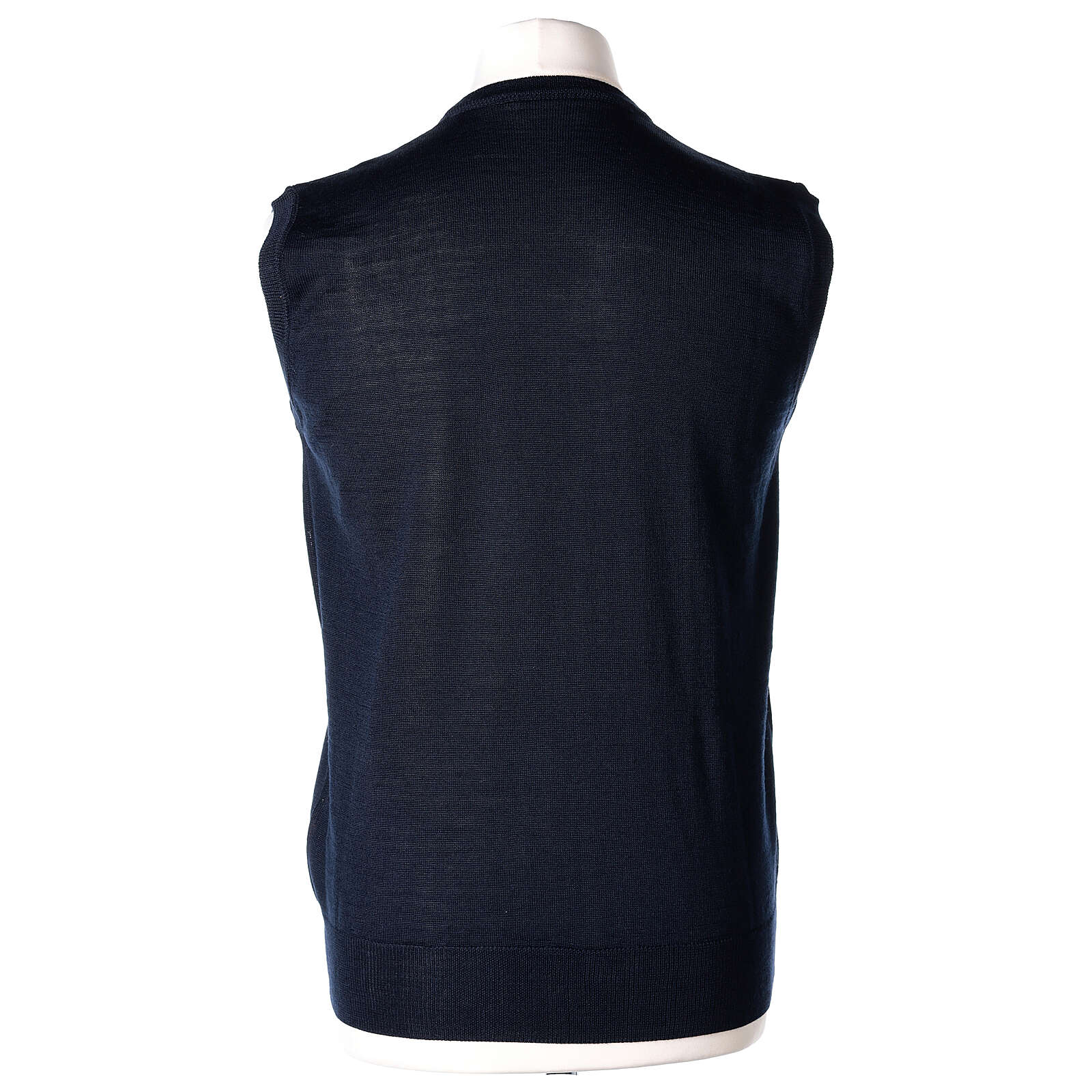 V-neck sleeveless clergy jumper blue plain knit 50% merino wool 50% acrylic In Primis 4