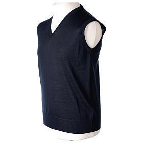 V-neck sleeveless clergy jumper blue plain knit 50% merino wool 50% acrylic In Primis s3