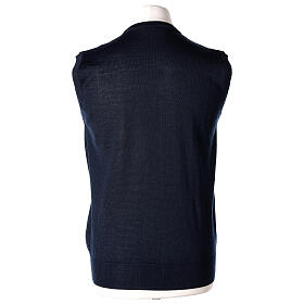 V-neck sleeveless clergy jumper blue plain knit 50% merino wool 50% acrylic In Primis s4