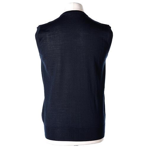 V-neck sleeveless clergy jumper blue plain knit 50% merino wool 50% acrylic In Primis 4