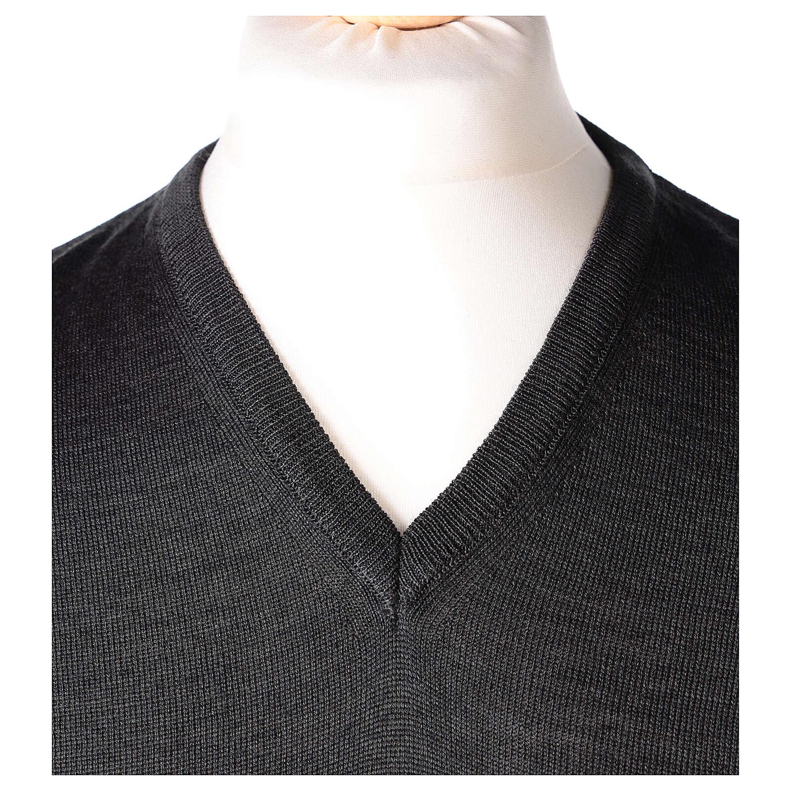 Chaleco sacerdote gris antracita cerrado punto al derecho 50% lana merina 50% acrílico In Primis 4