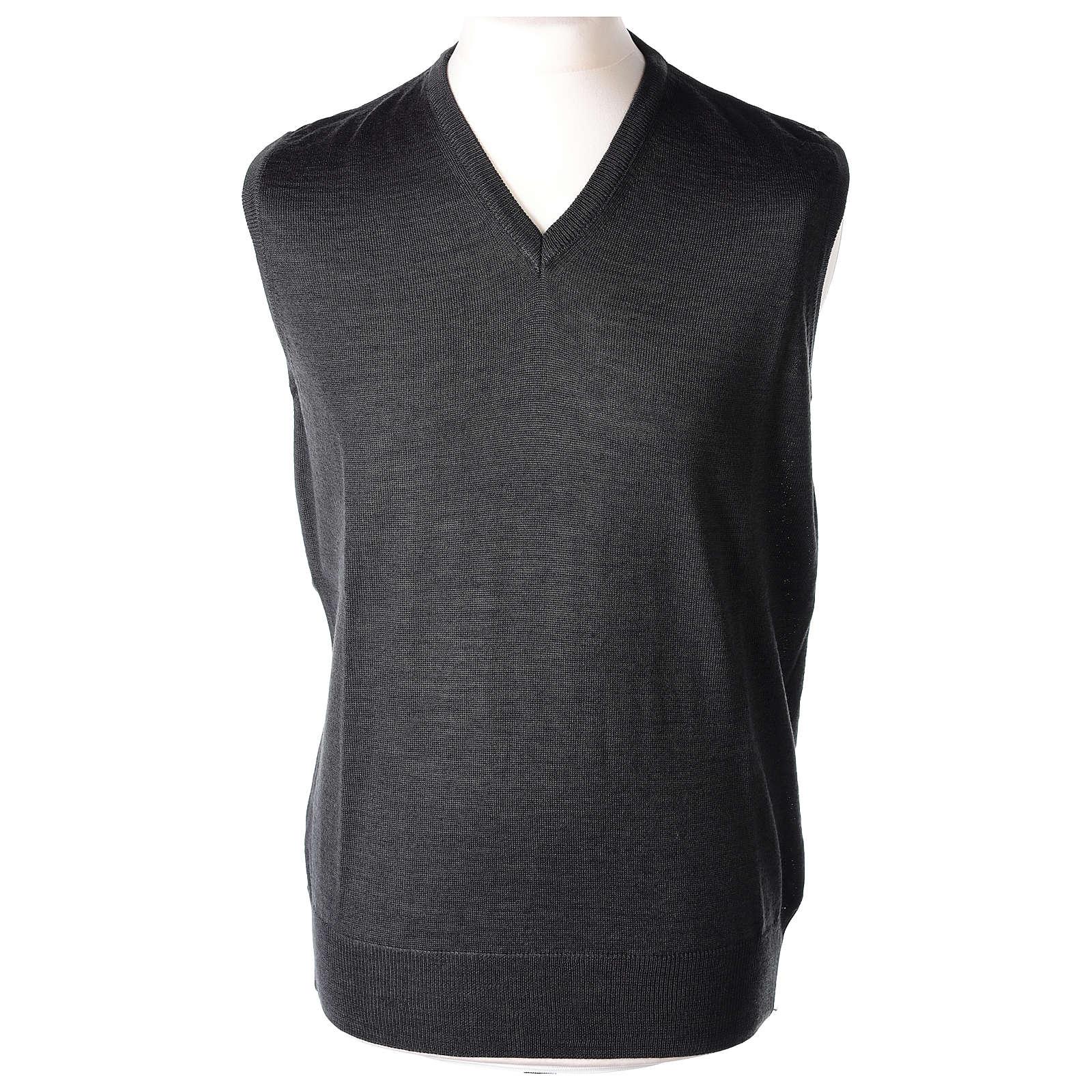 Pull sans manches prêtre gris anthracite jersey simple 50% acrylique 50% laine mérinos In Primis 4