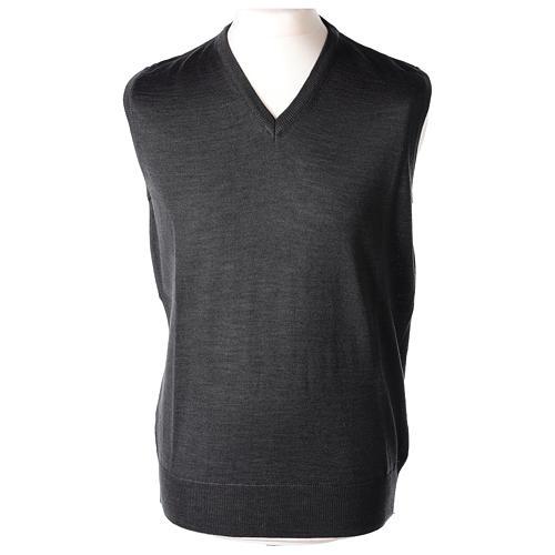 Pull sans manches prêtre gris anthracite jersey simple 50% acrylique 50% laine mérinos In Primis 1