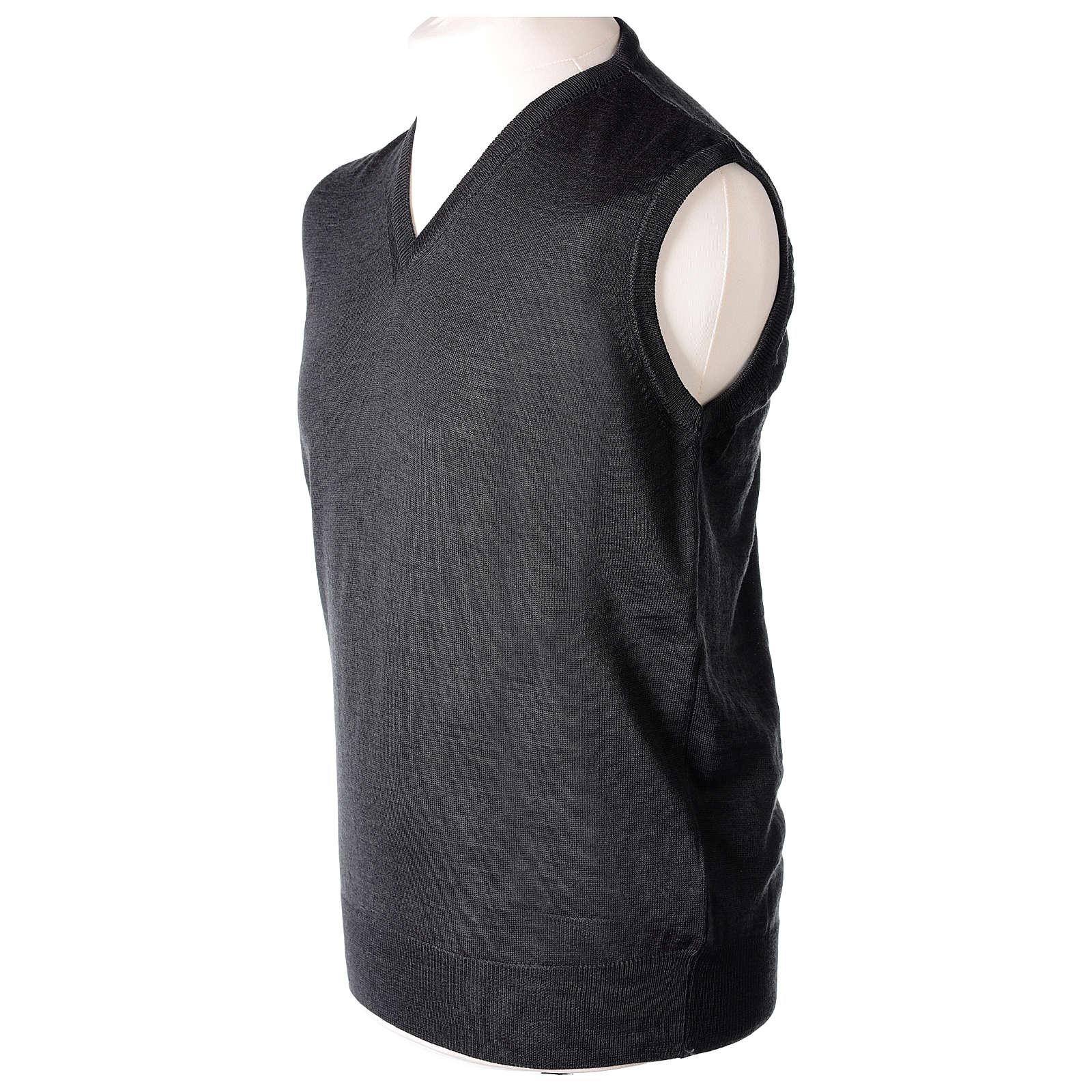 Gilet sacerdote grigio antracite chiuso maglia rasata 50% lana merino 50% acrilico In Primis 4