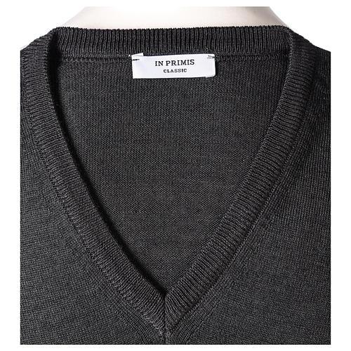 Gilet sacerdote grigio antracite chiuso maglia rasata 50% lana merino 50% acrilico In Primis 5