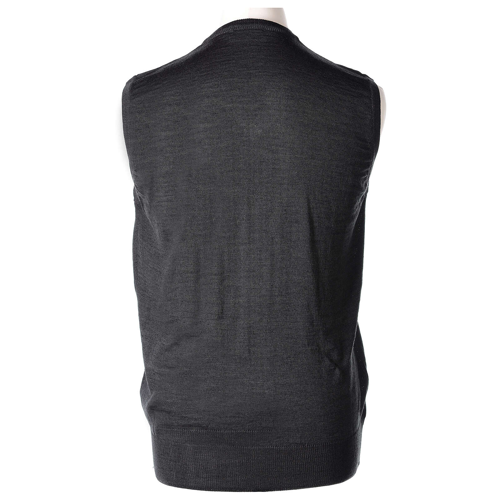 Colete sacerdote antracite sem botões tricô plano 50% lã de merino 50% acrílico In Primis 4