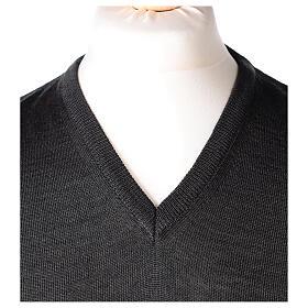 V-neck sleeveless clergy jumper grey plain knit 50% merino wool 50% acrylic In Primis s2