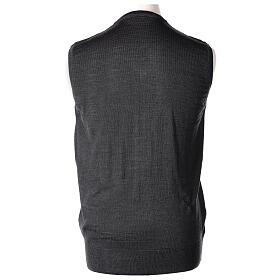 V-neck sleeveless clergy jumper grey plain knit 50% merino wool 50% acrylic In Primis s4