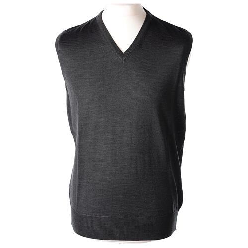 V-neck sleeveless clergy jumper grey plain knit 50% merino wool 50% acrylic In Primis 1