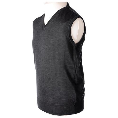 V-neck sleeveless clergy jumper grey plain knit 50% merino wool 50% acrylic In Primis 3