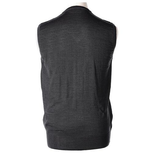 V-neck sleeveless clergy jumper grey plain knit 50% merino wool 50% acrylic In Primis 4