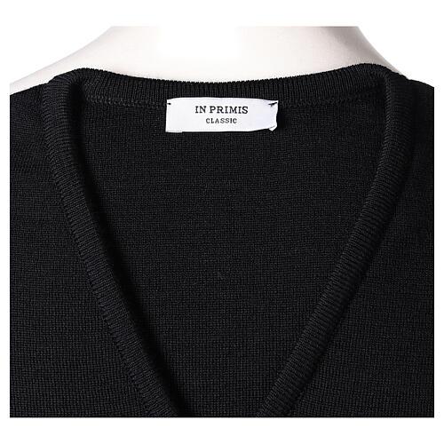 Chaleco sacerdote negro punto al derecho 50% acrílico 50% lana merina In Primis 5